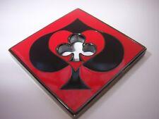 Diamond Shaped Black Red Cutout Card Guard Poker Hand Protector Metal NEW
