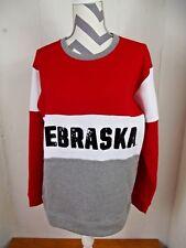Victoria's Secret Pink Womens X-SMALL Nebraska Bling Sequin Fleece Sweatshirt