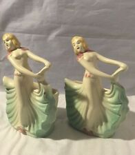 Vintage Pair Of 1940's Art Deco Hull Art Pottery Dancing Lady 955 Planter
