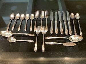 Holmes & Edwards Romance Inlaid Deep Silver Plate, 1952 - 21 Pieces, One Owner