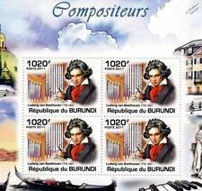 LUDWIG VAN BEETHOVEN & Organ Music Composer Stamp Sheet #3 of 5 (2011 Burundi)