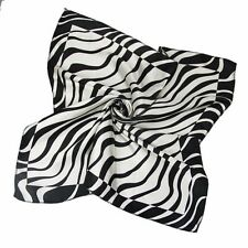 wrap head neck Neck Kerchief Bandana Silk scarf b296 Black white zebra stripes