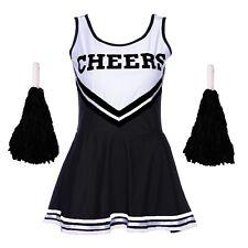 Negro Halloween Cheerleader DISFRAZ TRAJE UNIFORME DE LA High School secundaria+
