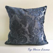 45cm x 45cm Home Decor Chenille Texture Damask Jaquard Cushion Cover-Navy