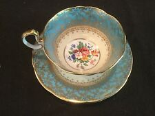 AYNSLEY CHINA TEAL BLUE AND GOLD ROSES FLORAL TEA CUP AND SAUCER 7849