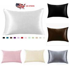 2Pc Satin Pillowcase Queen zipper Non-slip Closure Pillow Covers Sleeping Hair