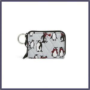 NWT Vera Bradley Petite Small Mini Zip Around Wallet in Playful Penguins Gray