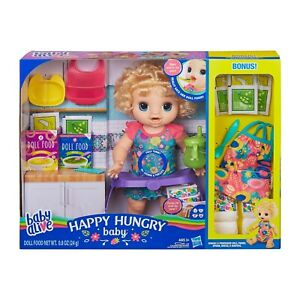 Baby Alive Happy Hungry Baby Blonde Curly Hair Doll Eats Poops Talks w/ BONUS