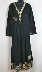 Long Dress Surya Maxi Hippie Boho Artsy Long Sleeve Black Beaded Embroidery Sz L