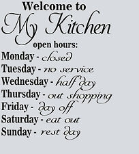 "Kitchen Vinyl Wall Art Transfer Decal ""Kitchen Opening hours"" Quote"