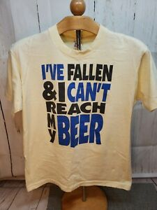 VTG 80's I've Fallen & I Can't Reach My Beer Yellow T-Shirt Large  Single Stitch