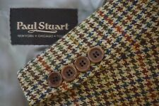 Paul Stuart Edward Cashmere Blend Tweed Multicolor Houndstooth Plaid Wool 41L