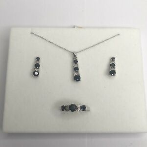 14k Solid White Gold Jewelry Set - Earrings Necklace & Ring Sz 7 Sapphire Mexico
