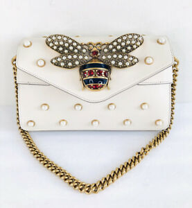 GUCCI Broadway Pearl Studded Large Bee Motif 453778 Queen Margaret Chain Bag