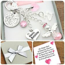 16TH 18TH 21ST BIRTHDAY GIFT. SIXPENCE. PEARL ANGEL. BIRTHSTONE. KEYRING. BOXED