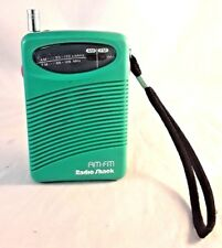 Radio Shack Sea Green AM FM Portable Radio 12-734 Mini Pocket Size Retro 80s Vtg