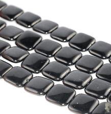 "21X21MM BLACK JET GEMSTONE ORGANIC  PERFECT SQUARE LOOSE BEADS 7.5"""
