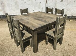 Rustic Reclaimed Scaffold Board/ Solid Wood Square Dining Table & Chair Set