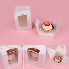 Cy_ BH_ KQ_ 1/5/10 Pcs Single Cupcake Muffin Fairy Cake Boxes Clear Window Gift