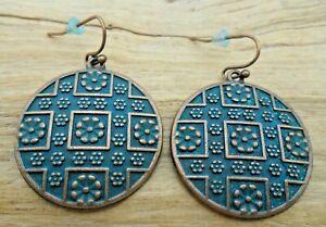 Raised Flower & Grid Pattern Copper Effect & Turquoise Disc Earrings 2.75cm