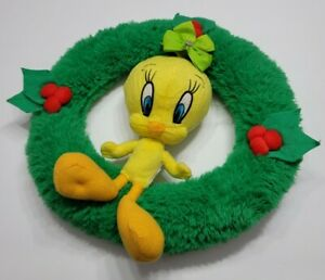 "LOONEY TUNES TWEETY BIRD CHRISTMAS PLUSH WREATH NO TAGS DECORATION 12"" HOLIDAYS"