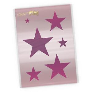 Stars Stencil - A4 Sized Mylar Star Templates (6 Star Sizes from 2 to 12 cm)