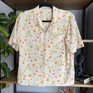 Whistles Size 10 Cream Fruit Print Oranges Lemons Blouse Shirt Top *Small Mark*