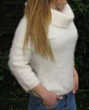 """Stylish Bardot White Soft Fluffy Angora Cowl Neck Sweater Jumper>M>33"""">£12.99"""