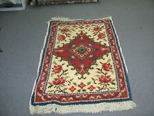 "Latch Hook Rug 29"" x 44 Unused Geometric Carpet  Handmade Wool"