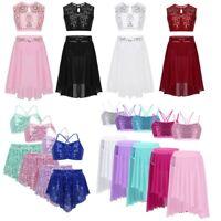 Girls Lyrical Two Pieces Dance Dress Sequins Latin Jazz Leotard Ballet Dancewear