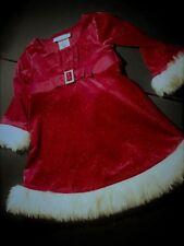 Toddler Girl Sz 2 CHRISTMAS DRESS Sparkly Red Velveteen w/ White Faux FUR Trim