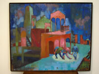 LARGE MID CENTURY MODERN ABSTRACT OIL ON CANVAS PAINTING - SIGNED GEROSKE 57