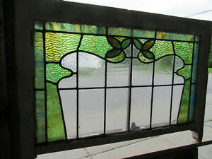~ ANTIQUE STAINED GLASS WINDOW ~ 31.5 x 22.5 ~ ARCHITECTURAL SALVAGE