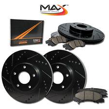 2009 2010 Chevy Silverado 1500 2WD/4WD Black Slot Drill Rotor w/Ceramic Pads F+R
