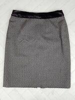 ARMANI Collezioni Geometric Jacquard Wool Blend Velvet Trim Pencil Skirt 46 14
