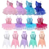 Girls Ballet Ballerina Dance Dress Sequins Leotard Tutu Skirt Dancewear Costume