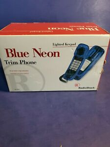 "RadioShack Blue Neon  Lighted Keypad Trim Phone Telephone  Retro ""NEW"""