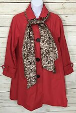 Dennis Basso Red Water Resistant A-line Jacket W/ Leopard Print Scarf Size PXS