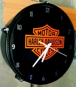 HARLEY DAVIDSON # Drum Clock 13 inch upcycled/bespoke ###