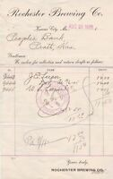 U.S. Rochester Brewing Co. Kansas City,Mo. Aug1905 Paid Cancel Invoice Ref 44447