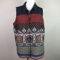 Vince Camuto Womens Plus 2X Black Red Geometric Sleeveless Hidden Buttons Top