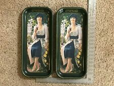 Two (2) Vintage, Collectible Coca-Cola Metal Trays Woman Drinking A Coke - Clean