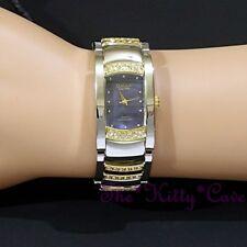 OMAX Seiko Movt 2Tone Silver Rainbow Blue MOP Watch w/ Swarovski Crystals JES610
