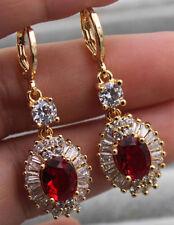 18K Yellow Gold Filled - 1.6'' Oval Flower Ruby Topaz Zircon Women Hoop Earrings