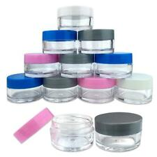 12 PCS 20G/20ML Round Clear Plastic Cosmetic Refill Jars with Mix Color Lids