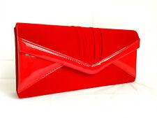 NEW ORANGE VELVET & PATENT EVENING CLUTCH BAG BLACK RED ROYAL BLUE NAVY PURPLE