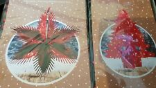 RED METALLIC FOIL STARBURST AND TREE CHRISTMAS HANGING DECORATIONS
