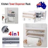 Wall Mounted Kitchen Organizer Rack Towel Holder Foil Roll Film Dispenser 4 in 1