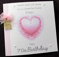 Large Personalised Pink Heart Birthday Card Mum Sister Daughter Nan Wife Auntie