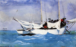 Key West, Hauling Anchor  by Winslow Homer  Giclee Canvas Print Repro